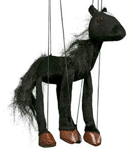 WB352B - Black Horse Plush Marionette by Sunny