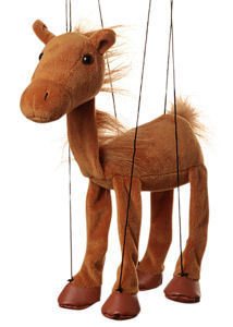 WB352A - Brown Horse Plush Marionette by Sunny